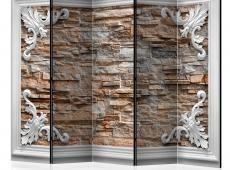 Paraván - Brick in the Frame (Brown) II [Room Dividers]